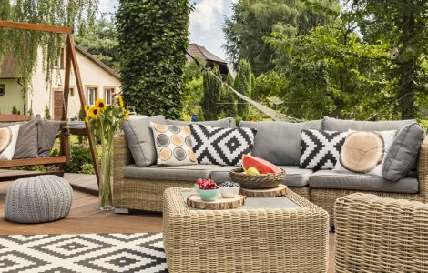 Attractive outdoor social space with corner sofa