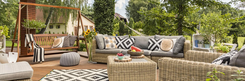Attractive outdoor social space with corner sofa